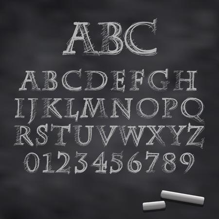 scratch board: Vector illustration of a chalk alphabet on a blackboard