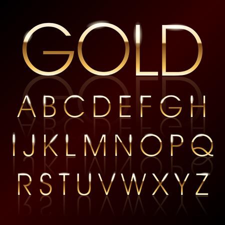 carta: Ilustración vectorial de un alfabeto de oro