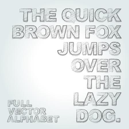 Vector pencil sketched alphabet
