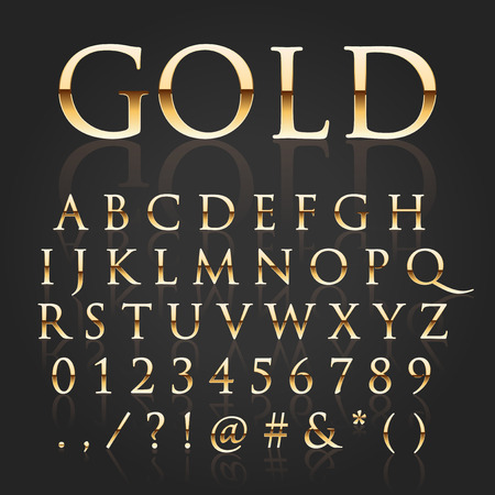 letras doradas: Vector letras de oro brillante