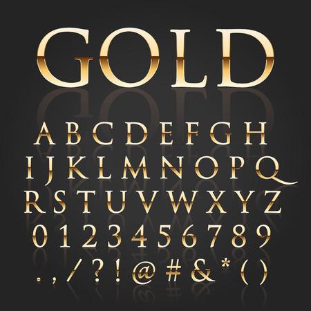elegante: Vector ouro brilhante letras Ilustração