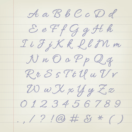 sketched: Vector pen sketched alphabet