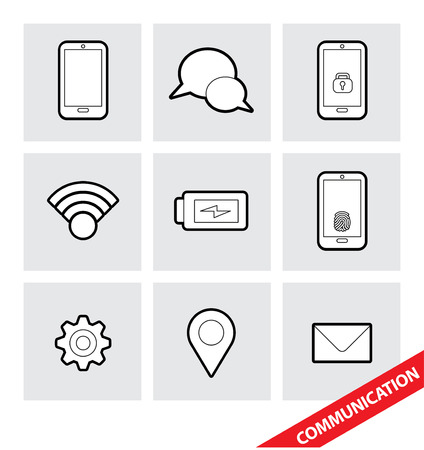global settings: Abstract vector illustration of a set of Communication icons
