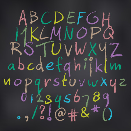 artistic: Vector illustration of colored alphabet in chalk