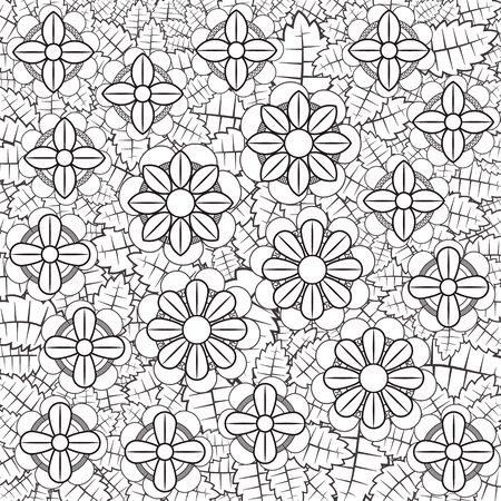 Leaf and flover doodle, black and white, vector eps10
