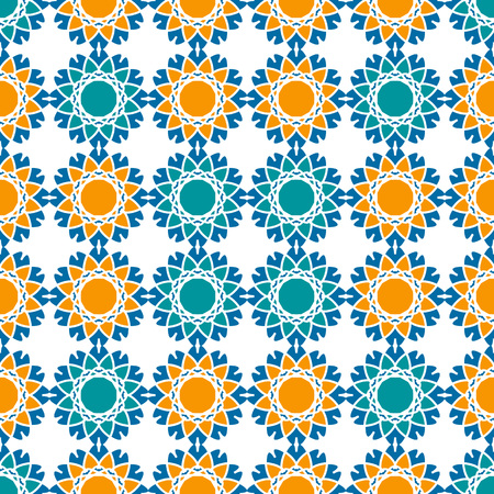 alhambra: Seamless texture with abstract arabic geometric ornament. Vector mosaic pattern.