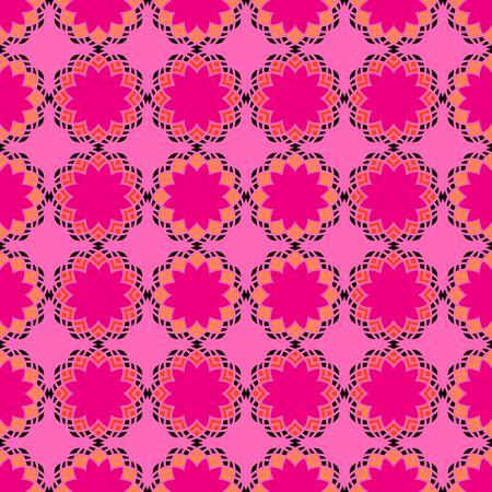 Seamless Pattern; Arabic; Islamic; Red, orange, black, pink; Traditional; EPS10.