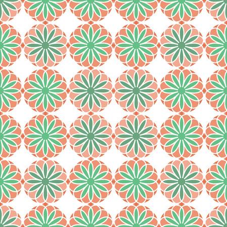 Seamless Pattern; Arabic; Islamic; Light green, beige, ochre, orange; Traditional; EPS10. Illustration