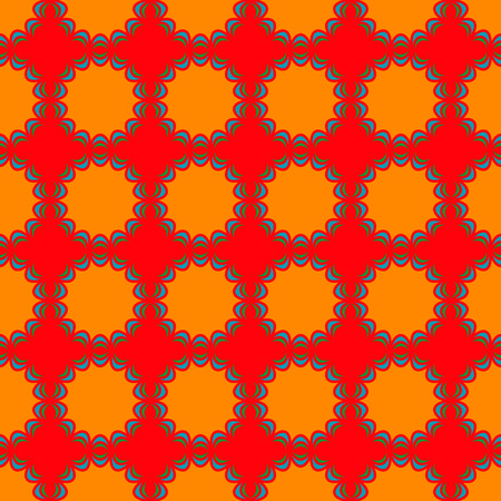 alhambra: Seamless Pattern; Arabic; Islamic; Green, blue, red, orange; Traditional; EPS10.