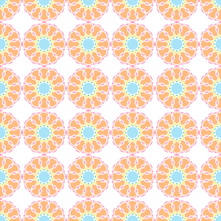 Seamless Pattern; Arabic; Islamic; Green, pink, yellow, blue, orange; Traditional; EPS10.