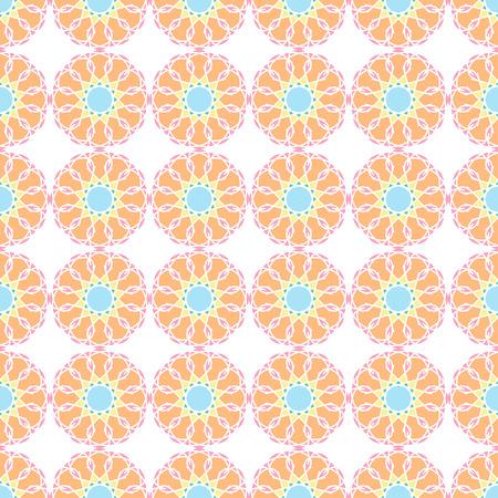 Seamless Pattern; Arabic; Islamic; Green, pink, yellow, blue, orange; Traditional; EPS10.
