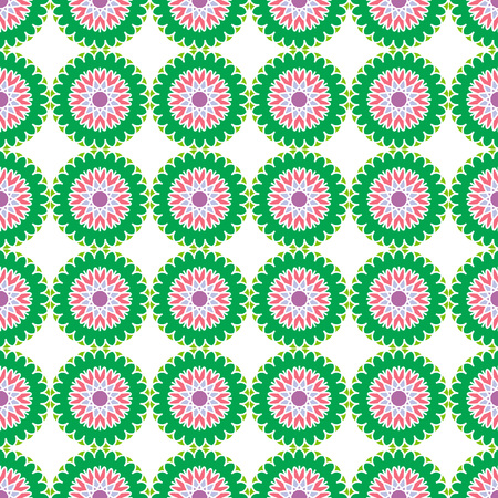 alhambra: Seamless Pattern; Arabic; Islamic; Green, pink, blue, violet; Traditional; EPS10. Illustration