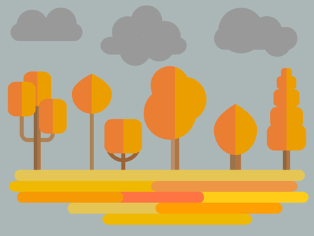 Autumn Trees Forest Flat Illustration With Gray Sky Vector