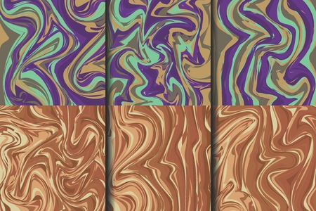 Vector set swirls of liquid marble texture. Fluid art. Applicable for design covers, presentation, invitation, flyers, annual reports, posters and business cards. EPS10.
