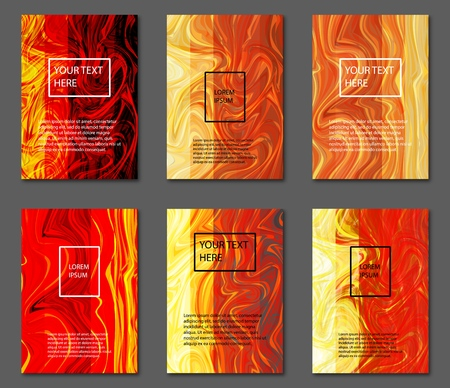 Liquid colors covers set. Fire colors mixture. A4 size, eps10 vector. Vectores