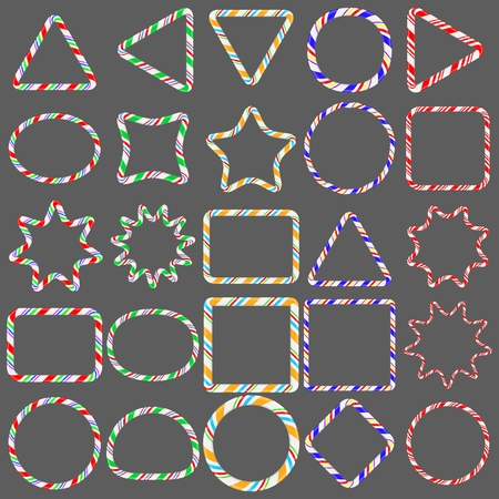 Candy cane borders Set isolated on gray background, vector EPS10