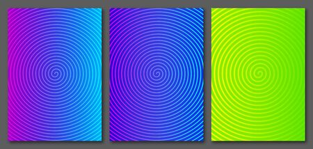 Collection A4 size vector templates with colorful spiral. For covers, posters, flyers, cards.