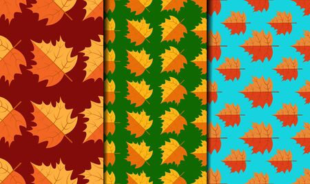 Set of seamless patterns with minimalist autumn maple leaves. All patterns in the swatches panel, eps 10.