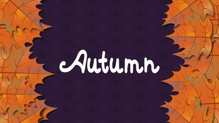 Autumn vector horizontal background with colorful orange maple leaves.