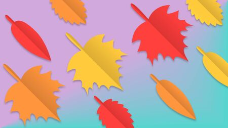Autumn vector background, paper cut out leaves design for fall season banner, greeting card, invitation, wallpaper.