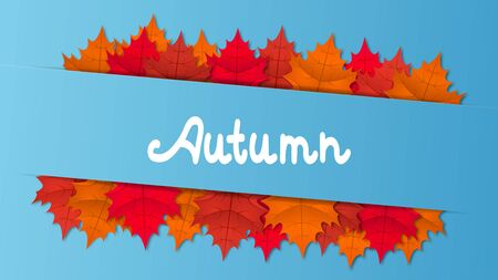 Autumn vector horizontal blue background with colorful maple leaves. Foto de archivo - 130760605