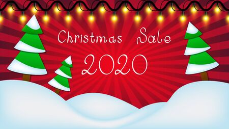 2020 christmas sale red vector background. Winter landscape with christmas garland, pines and snowdrifts.