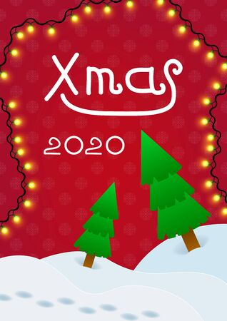 Holiday winter xmas 2020 background. ?over template for poster, card, flyer, placard with christmas trees and garlands.