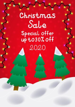 Holiday winter background special offer, christmas sale, up to 30% off. ?over template for poster, card, flyer or discount with christmas trees and garlands. Ilustracja