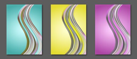 Set of abstract vector covers with colorful fluid wavy shape. Templates for flyers, leaflets, posters and other. Ilustracja