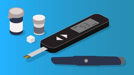Isometric vector diabetes diagnostic set. Glucometer, test strips, lancet and sugar cube.