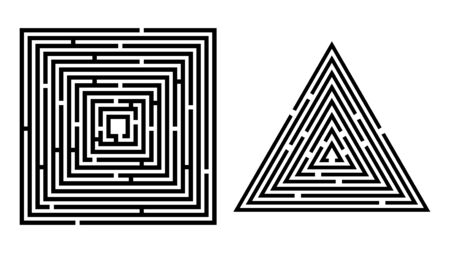 Set of isolated labyrinths. Vector abstract maze illustration. Vettoriali