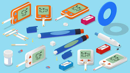 Isometric glucose monitoring set. Glucometer, insulin pen, test strips, lancet, pills, sugar cube and blue symbol for diabetes.