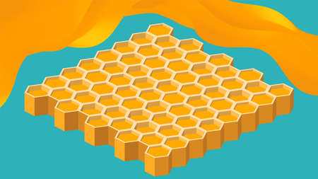Isometric background with honeycomb and honey spash