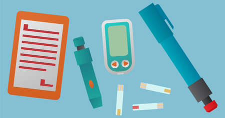 Medical design concept. Colorful glucometers, insulin pen, lancets and test strips.
