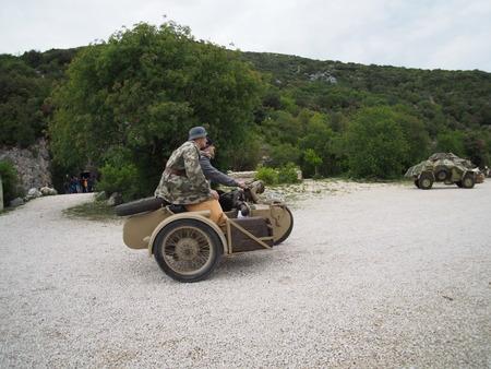 sidecar: German soldiers on a sidecar