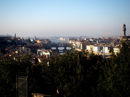arno: Florentine sunset over the Arno River, autumn Editorial