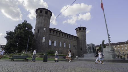 August 2018: Castello Casaforte adjacent to Palazzo Madama, currently a Risorgimento museum. We are in the late afternoon of a warm and sunny day. August 2018 in Turin Editorial