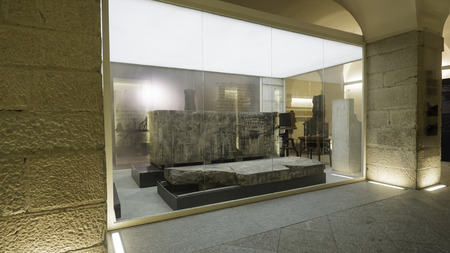 August 2018: Works exhibited inside the Egyptian museum. There are also visitors who look at the works with interest. August 2018 in Turin