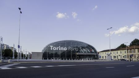 August 2018: underground railway station of the Turin-Milan line and the Turin railway loop. Inaugurated in 2009 it replaces the old station of the same name. August 2018 in Turin Editorial