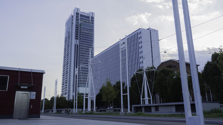 August 2018: headquarters of the banking group, the third tallest building in Turin. Project by the architect Renzo Piano. August 2018 in Turin