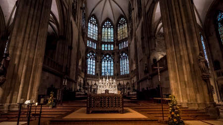 Regensburg 2019. Apse with large windows and altar in the cathedral dedicated to St. Peter. August 2019 in Regensburg.