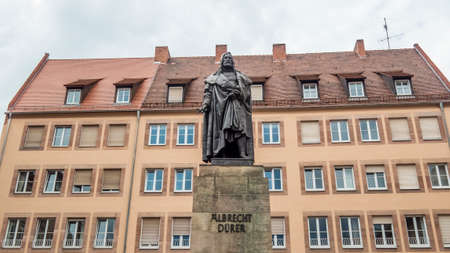 Nuremberg 2019. Statue of the painter Albrecht Dürer, Nuremberg. We are a sunny summer morning. August 2019 in Nuremberg
