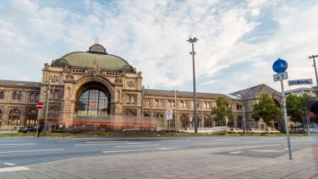 Nuremberg 2019. Long exposure of the main city station. We are a sunny summer morning. August 2019 in Nuremberg