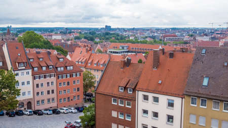 Nuremberg 2019. Roofs of the city seen from the hill where the castle is located. We are on a hot and cloudy summer day. August 2019 in Nuremberg Editorial