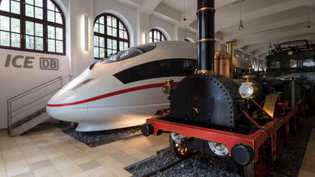 Nuremberg 2019. Trains from various eras displayed in the Museum of Transport Trains are full-size. August 2019 in Nuremberg
