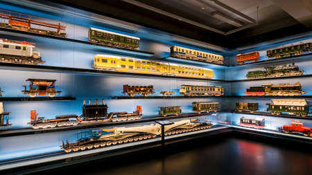 Nuremberg 2019. Model trains present in the city transport museum. The models are in various scales and from various eras. August 2019 in Nuremberg