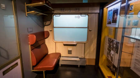 Nuremberg 2019. Model of the interior of a 1970 train in the City Transport Museum. August 2019 in Nuremberg