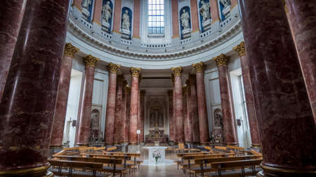 Nuremberg 2019. Interior of the completely empty St. Elisabeth Church. We are on a hot and cloudy summer day. August 2019 in Nuremberg