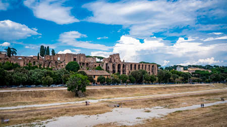 Italy 2020: Esplanade of the Circus Maximus and Roman Forum. We are at the end of spring, the sky is clear and there are clouds. June 2020, Rome Editorial