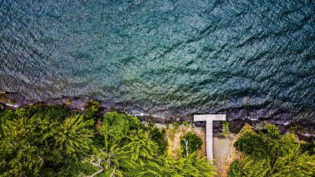 Aerial view of a small pier, or pier, on the edge of Lake Bracciano surrounded by thick vegetation. Trevignano.